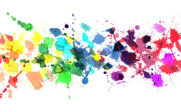 Rainbow of watercolor paint