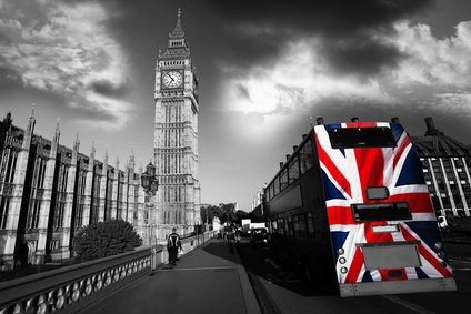 Big Ben with city bus in London, UK